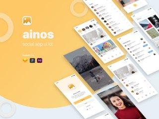 Ainos Social App UI工具包,使用Sketch,XD和Figma,Ainos Social App UI / UX工具包设计