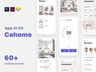60+ Screen UI Kit智能家居移动应用程序,包括Sketch,Photoshop,Adobe XD,Cahome UI Kit