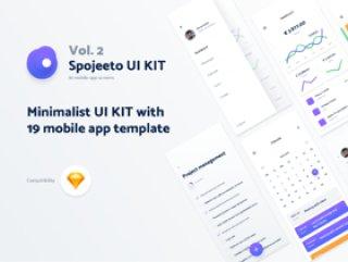 具有19个iPhone X模板的极简主义UI KIT,受到流行的移动应用程序设计模式的启发。 2 - Spojeeto移动应用UI工具包