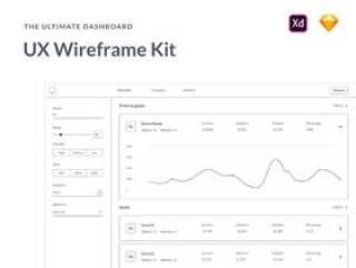 用于快速工作流的300多个元素和屏幕。,Ultimate Dashboard UX线框