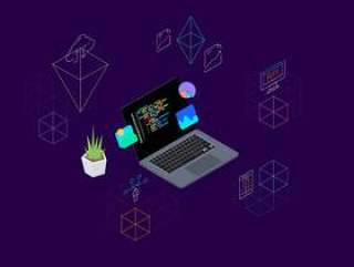 8 Blockchain概念等距插图素描与插画。,区块链平台等距v.7