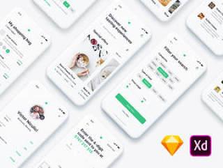 用于Sketch和Adobe XD的240+屏幕食品交付iOS UI工具包,饥饿的iOS UI工具包