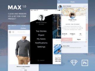 移动UI工具包与300大纲图标和Pantone颜色2016年,MAX UI工具包