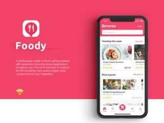 包含21个iOS屏幕的食品订购和交付UI工具包(含Sketch源文件)