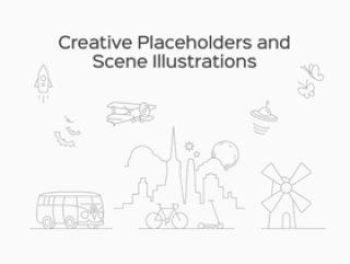 创意占位符和场景插图,创意占位符和场景插图