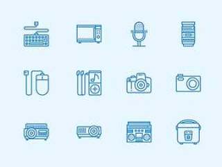 30 枚数码产品线性图标