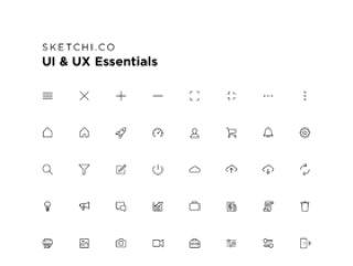 任何应用程序界面,UI和UX Essentials的标准图标集合