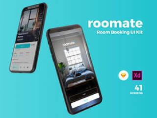 高品质的房间预订App UI套件专为Sketch和Adobe XD。,Roomate iOS UI套件而设计