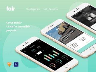 漂亮的时尚UI工具包140+手机屏幕界面包含Photoshop和Sketch文件