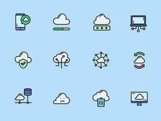 50 枚云计算网络元素图标