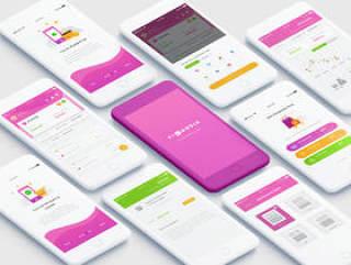 个人预算应用程序的UI设计元素,Finansia Personal Budgeting UI Kit
