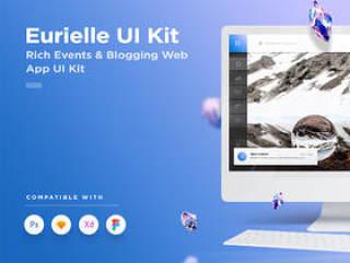 Web事件和博客App UI Kit - 用于Sketch,Photoshop,XD,Eurielle Web App UI Kit