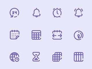 40 枚日历和日期元素图标