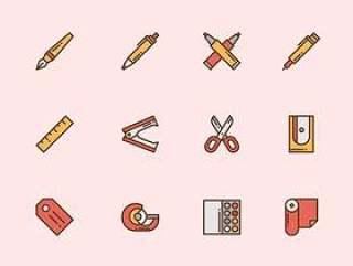 50 枚彩色文具图标
