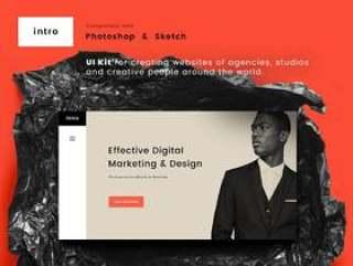 用于Photoshop和Sketch,Intro UI Kit的现代和简约UI工具包