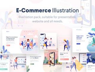 摆脱包含场景的电子商务插图包,满足您的电子商务需求。,Lunas:电子商务插图套件