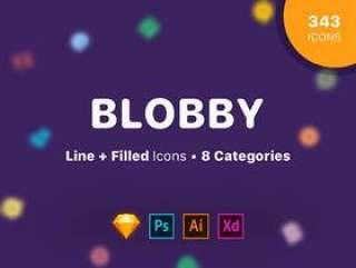 343界面,财务,媒体和VR图标。,Blobby图标集
