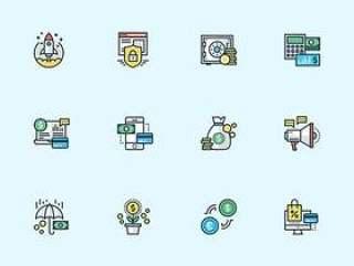 20 枚多彩商务元素图标