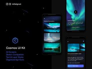 适用于Sketch的旅行和飞行Android UI工具包。,Cosmos UI工具包