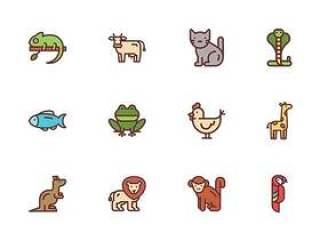 50 枚动物线性图标