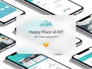 注意使用Sketch。,Happy Place UI Kit设计的iPhone X App UI工具包