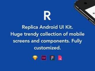 适用于Android的大量时尚手机屏幕和Material组件,Replica Android UI Kit