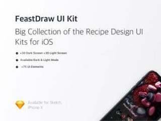 在Sketch。,FeastDraw UI Kit中设计的浅色和深色iOS Recipe UI工具包