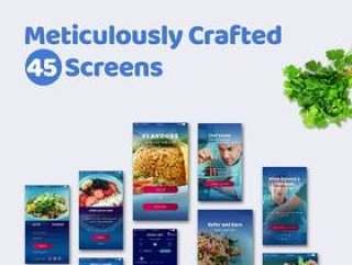 用于餐馆和食品的UI套件订购PSD和草图的移动应用程序,Flavors UI Kit
