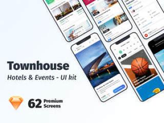 为Sketch。,Townhouse Mobile App UI Kit设计的高品质酒店预订应用UI套件