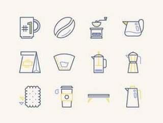 12 枚咖啡图标