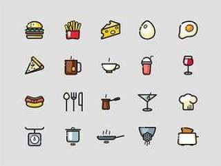 60 枚彩色食物图标