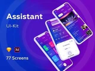 Sketch和Adobe XD的个人助理应用程序UI工具包,助理UI工具包