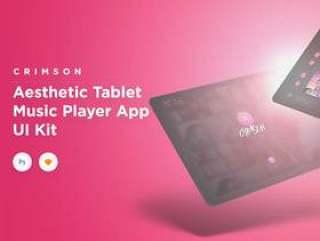用于音乐创作者的平板电脑音乐UI套件,限时享受25%折扣!,Crimson Music UI套件