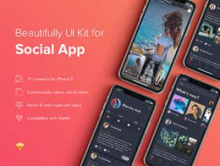 使用Sketch,Zingo Social App UI Kit设计的社交移动UI工具包