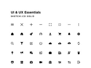 任何应用程序界面的标准图标,UI和UX Essentials Solid