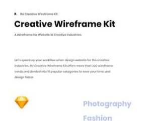 创意产业网站200多个线框卡交互设计sketch源文件