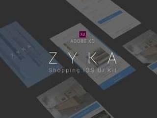 在Adobe XD。,Zyka iOS UI KIt中创建的购物iOS UI工具包