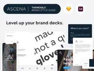 Ascena,品牌VI展示风格指南模板,数字品牌指南模板,品牌风格指南