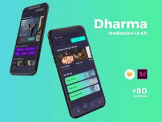 专为Sketch和Adobe XD设计的高品质Meditation App UI套件,Dharma iOS UI套件