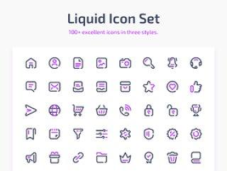 100种优秀的三种风格图标,液体图标集