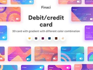 30张具有不同颜色组合的渐变卡,Finaci金融借记卡/信用卡