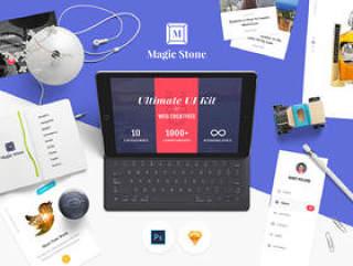 Magic Stone UI工具包(10个流行的类别,5个即用样本页面,120多个图标和精心设计的组件包含PSD和Sketch源文件)