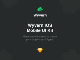 55 + iOS屏幕Sketch App中的7个类别,Wyvern iOS UI Kit