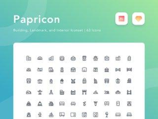 63图标集|适合您的数字需求。,Papricon - 建筑,地标和室内装饰