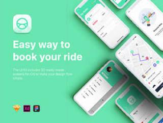 Taxi Mobile UI套件采用Sketch,XD和Figma,Aber UI Kit设计