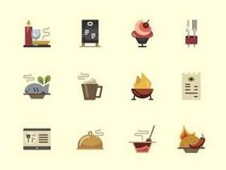 30 枚餐馆扁平图标