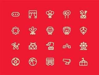 马戏团元素图标集