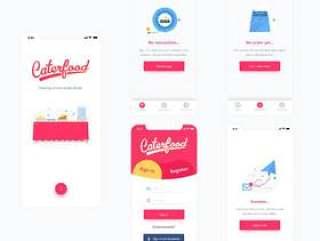 30+ iPhone X屏幕餐饮UI套件,使用Sketch。,Caterfood UI Kit设计