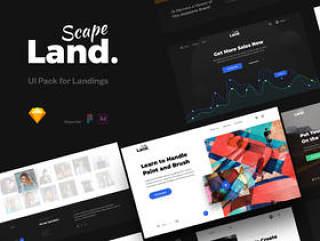 UI Pack由120张完美的卡组成,用于构建现代和美丽的登陆页面,Landscape UI Pack