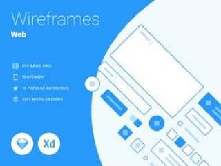 Sketch&XD的Web,智能手机和平板电脑线框,响应式线框